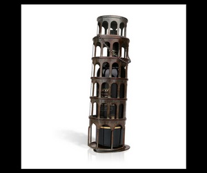 Metal Wine Rack Shaped In Leaning Tower Of Pisa