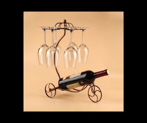 Vintage Iron Wine Rack And Glasses Holder