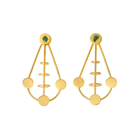 BALANCE RAW EMERALDS 24K GOLD PLATED EARRINGS