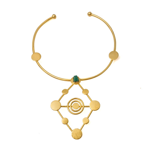 Raw Emerald  gold plated necklace