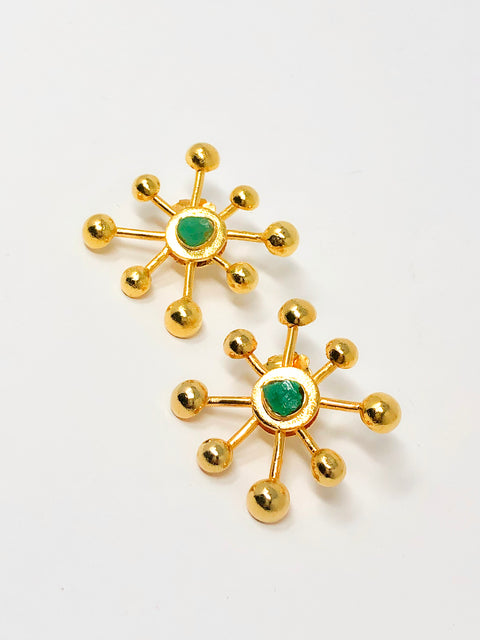 big bang gold raw emerald earrings