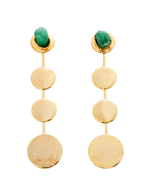 STARLINE 2 IN ONE RAW EMERALDS 24K GOLD PLATED EARRINGS