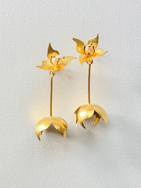 Flower 2 in 1 pendant earrings
