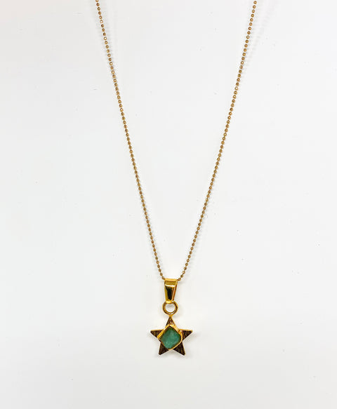 Star charm emerald necklace