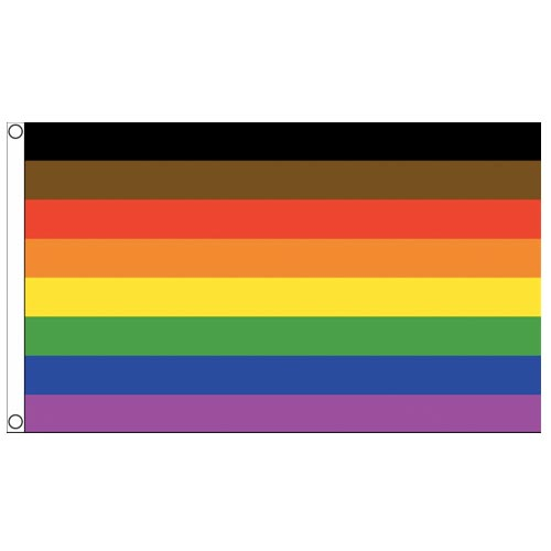 Gay Pride 8 Colour Rainbow Flag (Brown & Black Stripes/Manchester Pride 2019) - (5ft x 3ft Premium)