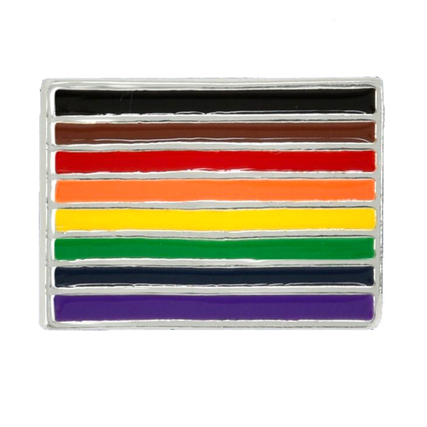 8 Colour Gay Pride Rainbow Flag Silver Plated Pin Badge