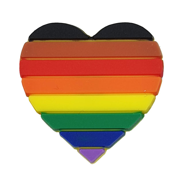 8 Colour Pride Rainbow Flag Silicone Heart Pin Badge