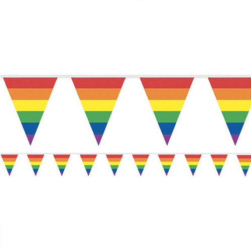 Gay Pride Rainbow Flag Plastic Bunting Small (3.7m)