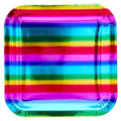 Gay Pride Rainbow Foil Paper Plates (10 Pack)