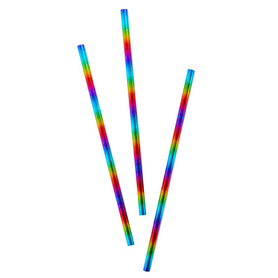 Gay Pride Rainbow Foil Paper Straws (20 Pack)