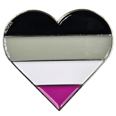 Asexual Flag Silver Metal Heart Lapel Pin Badge