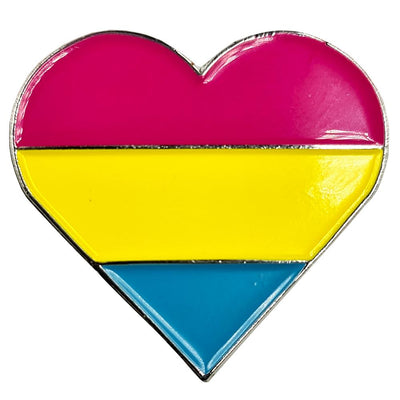 Pansexual Flag Silver Metal Heart Lapel Pin Badge