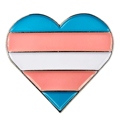 Transgender Flag Silver Metal Heart Lapel Pin Badge