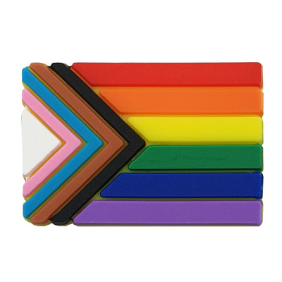 Progress Pride Flag Silicone Rectangle Pin Badge
