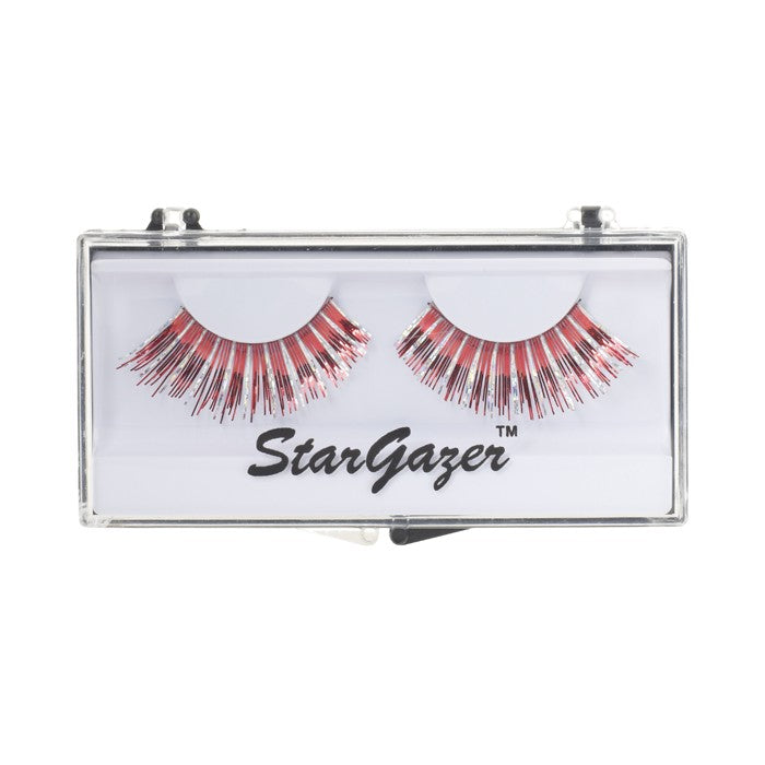 Stargazer Festival False Lashes 26 - Red & Silver Foil