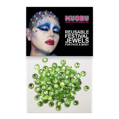 Apple Green Diamontes - Clear Face & Body Gems 4mm