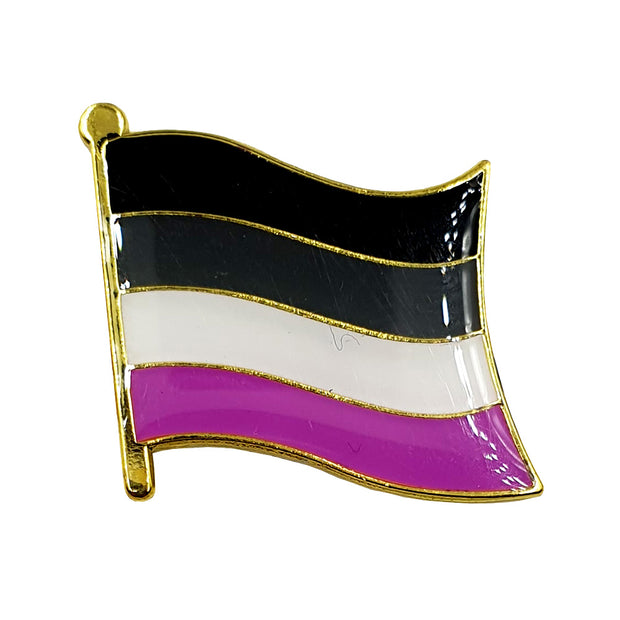 Asexual Flag Gold Enamel Waving Flag Pin Badge