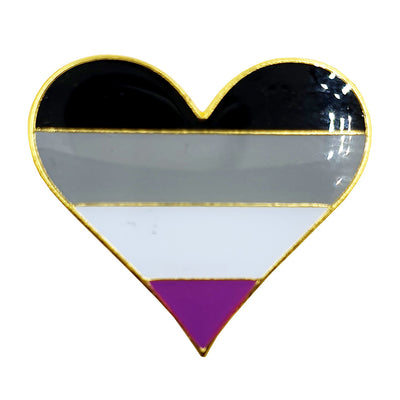 Asexual Flag Metal Heart Lapel Pin Badge