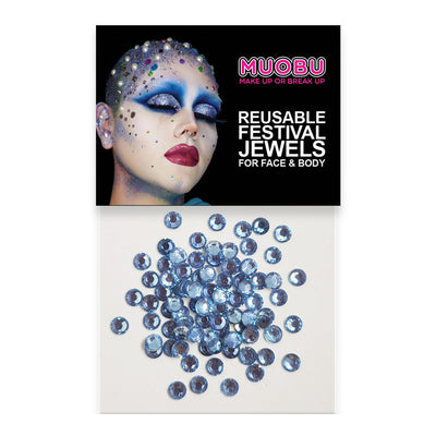 Baby Blue Diamontes - Clear Face & Body Gems 4mm