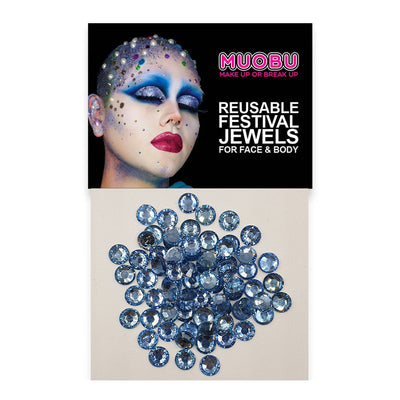 Baby Blue Diamontes - Clear Face & Body Gems 6mm