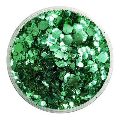 MUOBU Biodegradable Green Mixed Glitter - Metallic Festival Chunky Glitter Mix (BioWicked)