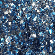 Biodegradable Blue & Silver Festival Glitter (Metallic Chunky Glitter Mix) - BioVenus