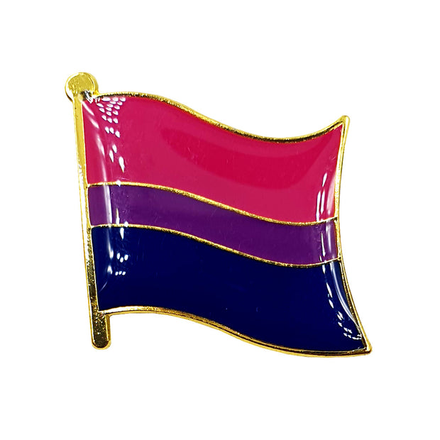 Bisexual Flag Gold Enamel Waving Flag Pin Badge