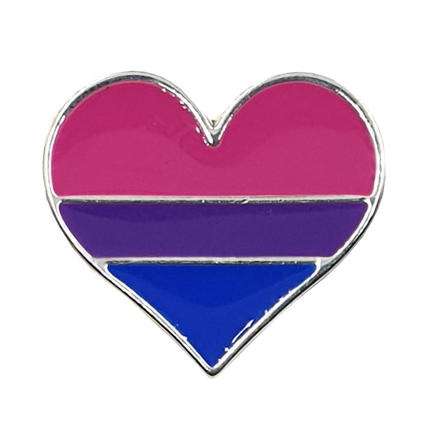 Bisexual Flag Silver Plated Heart Pin Badge