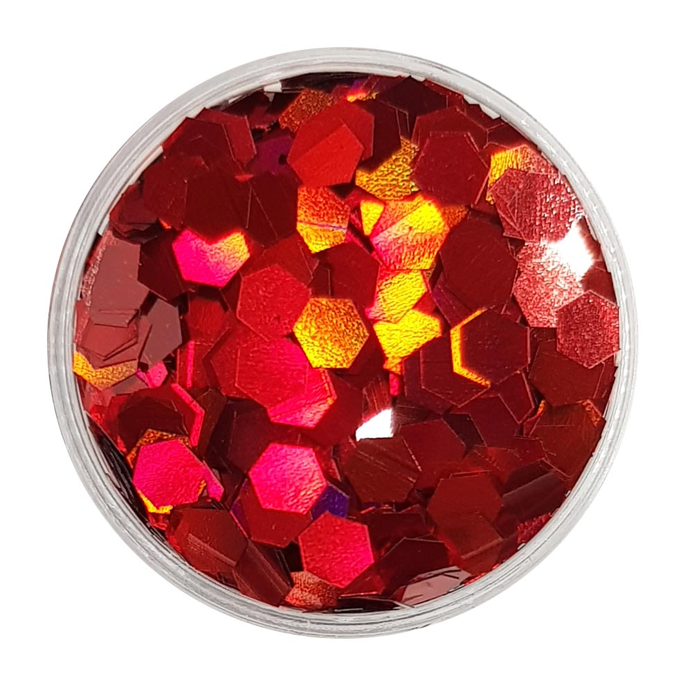 Red Large Flake Glitter (Holographic Glitter Hexagons) - Bloody Nightmare