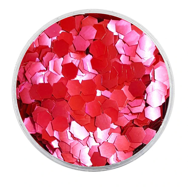 MUOBU Biodegradable Blush Red Glitter - Chunky Hexagon Metallic Glitter)