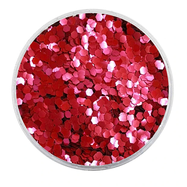 MUOBU Biodegradable Blush Red Glitter - Mini Hexagon Metallic Glitter
