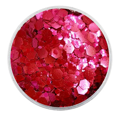 MUOBU Biodegradable Blush Red Mixed Glitter - Metallic Festival Chunky Glitter Mix (BioBlush)