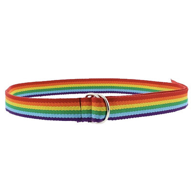 Gay Pride Rainbow Canvas Webbing Belt (With D-Ring Buckle)