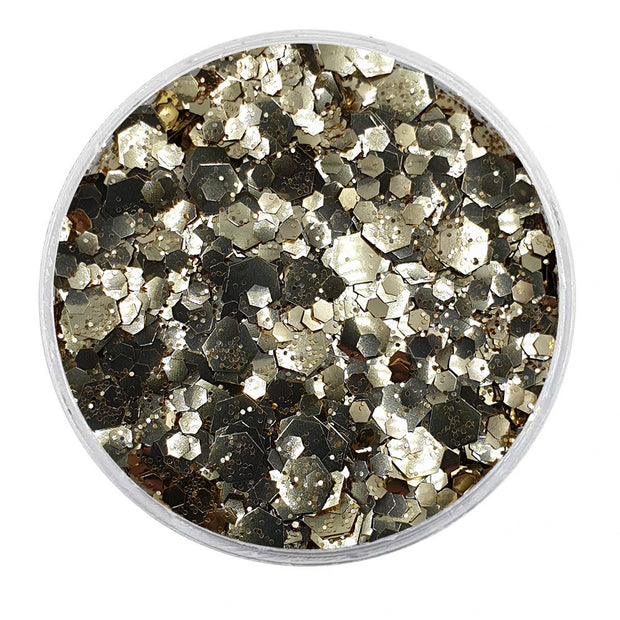MUOBU Biodegradable Champagne Mixed Glitter - Metallic Festival Chunky Glitter Mix (BioBubbles)