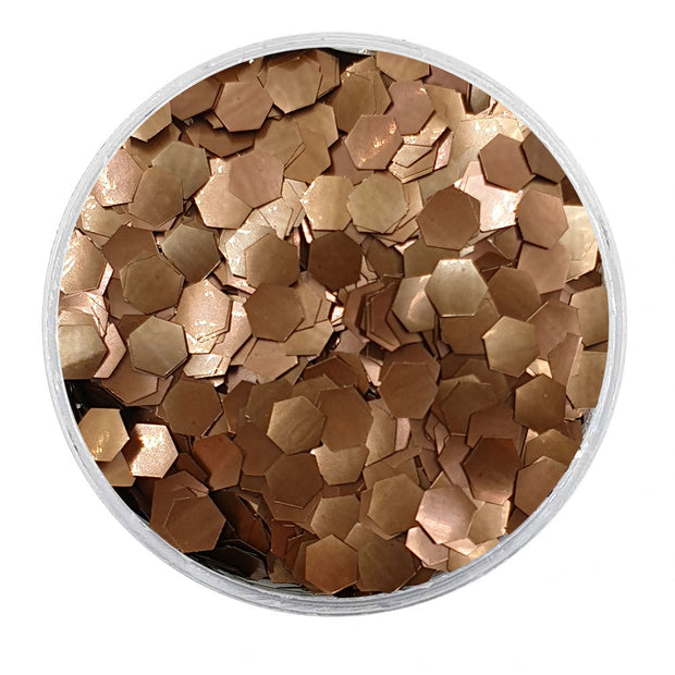 MUOBU Biodegradable Dark Bronze Glitter - Chunky Hexagon Metallic Glitter