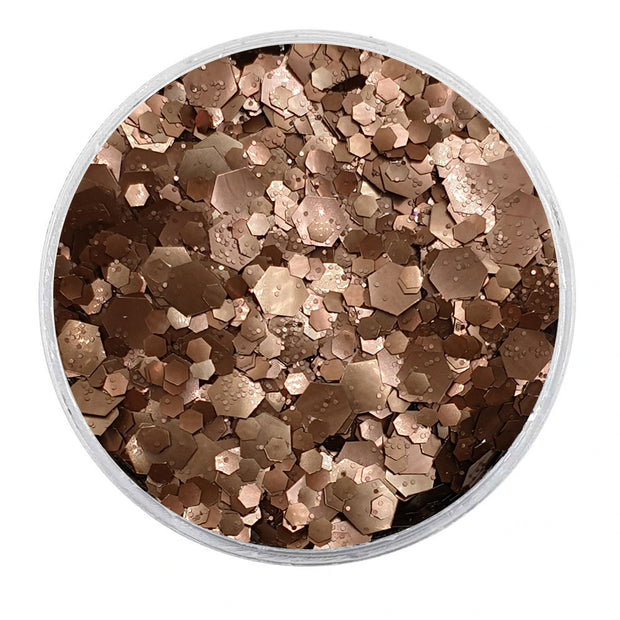 MUOBU Biodegradable Dark Bronze Mixed Glitter - Metallic Festival Chunky Glitter Mix (BioBronzed)