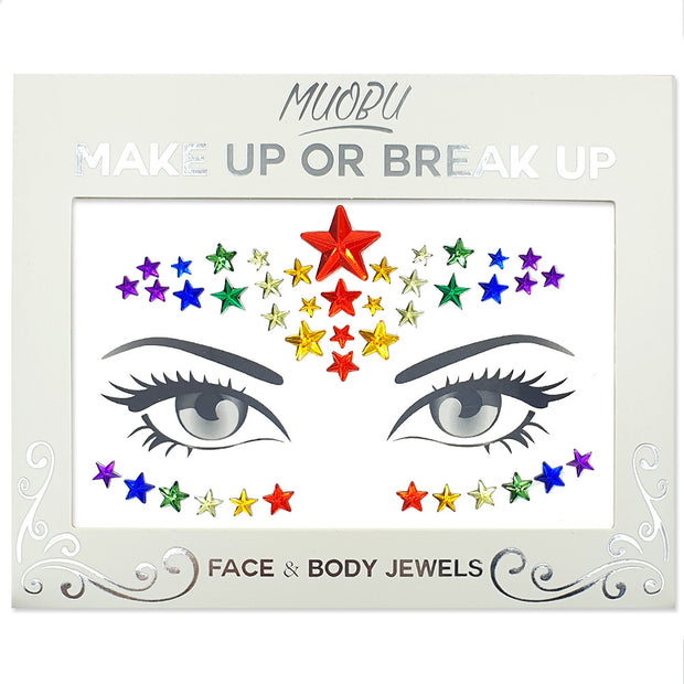 Festival Face Jewels Set - Gay Pride Rainbow Stars