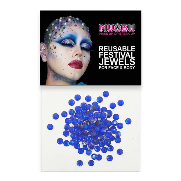 Royal Blue Diamantes - Clear Face & Body Gems 4mm