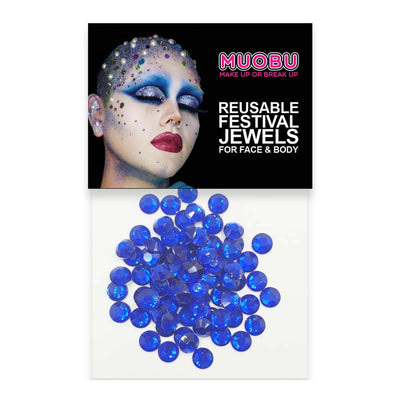Royal Blue Diamantes - Clear Face & Body Gems 6mm