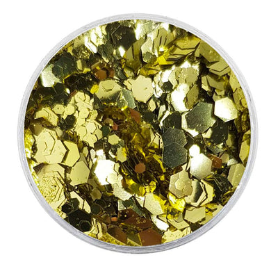 MUOBU Biodegradable Gold Mixed Glitter - Metallic Festival Chunky Glitter Mix (BioMidas)