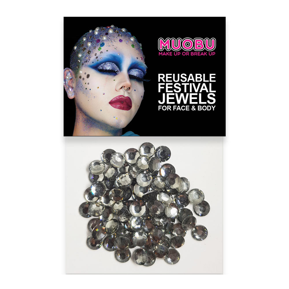 Graphite Diamontes - Clear Face & Body Gems 6mm