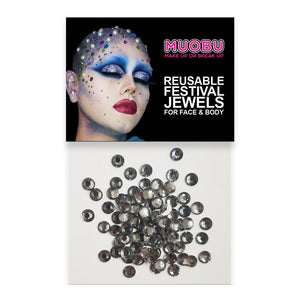 Graphite Diamontes - Clear Face & Body Gems 4mm