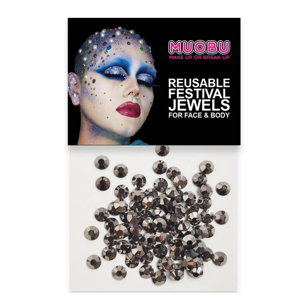 Graphite Diamontes - Metallic Face & Body Gems 4mm