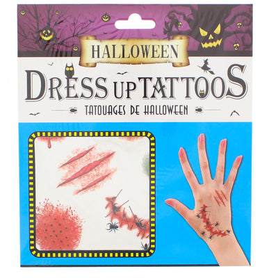 Halloween Hand Tattoos - Spiders & Claw Marks (Blue Set)