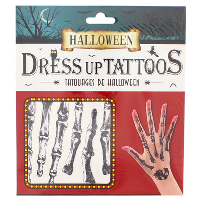 Halloween Hand Tattoos - Skeleton Fingers (Red Set)