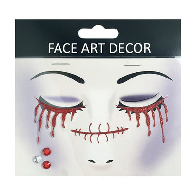 Halloween Red Glitter Blood Face Stickers