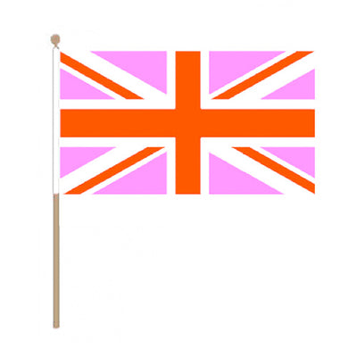 Pink Union Jack Hand Held Flag (22.5cm x 15cm)