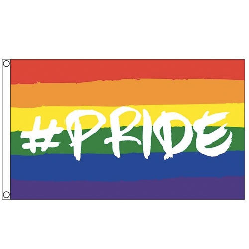 Hashtag Pride Gay Pride Rainbow Flag (5ft x 3ft Premium)