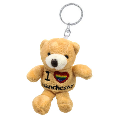 Teddy Bear Keyring - I Love Manchester Gay Pride Rainbow Heart