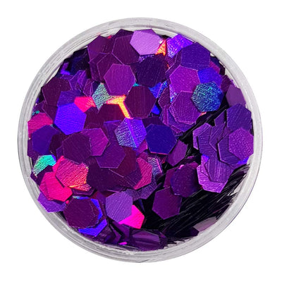 Purple Large Flake Glitter (Holographic Glitter Hexagons) - KThanksBye